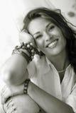 Stående av den vuxna kvinnan. Tonad Sepia. royaltyfri bild