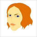 Stående av den yong kvinnan med kort krabbt hår och blåa ögon Arkivfoton
