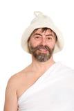 Stående av det iklädda traditionella badet för medelålders man arkivbild