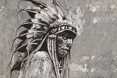 Stående av det indiska huvudet för indian över den texturerade väggen stock illustrationer