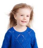 Stående av det lyckliga barnet som isoleras på vit fotografering för bildbyråer