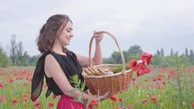 Stående av det nätta ung flickaanseendet i vallmofältet som rymmer den vide- korgen med målarfärg, jordgubben och blommor i hände lager videofilmer