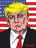 Stående av Donald Trump American President på bakgrunden av amerikanska flaggan Arkivfoto