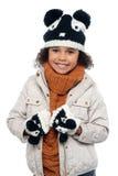 Stående av en älskvärd liten flicka i vinterdräkt Fotografering för Bildbyråer