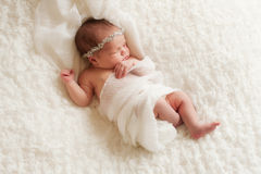 Stående av en Angelic Newborn Girl Arkivbild