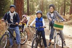 Stående av en asiatisk familj på cyklar i en skog, slut upp arkivfoto