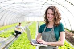 Stående av en attraktiv bonde i ett växthus genom att använda bärbara datorn royaltyfri fotografi
