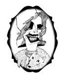 Stående av en chic kvinna Svartvit illustration på en affisch och på en T-tröja vektor illustrationer