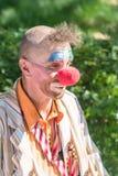 Stående av en clown med en röd näsa royaltyfri bild