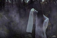 Stående av en död flicka på allhelgonaafton i en dyster skog arkivbilder