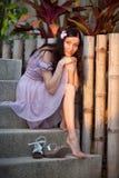 Stående av en flicka i den Phuket ön Arkivfoton