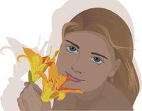 Stående av en flicka med en blomma Royaltyfri Foto