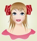 Stående av en flicka med en pilbåge Vektor Illustrationer