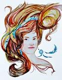 Stående av en flicka med ett örhänge Royaltyfri Foto