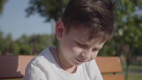 Stående av en gullig le pojke utomhus Det förtjusande barnet att spendera tid i sommaren parkerar lager videofilmer