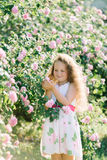 Stående av en gullig litet barnflicka som är utomhus- i en rosträdgård som luktar blommorna Arkivbilder