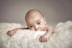 Stående av en gullig nyfödd pojke royaltyfri fotografi