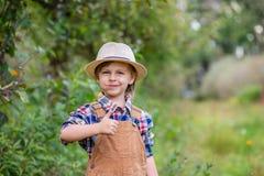 St?ende av en gullig pojke i en hatt i tr?dg?rden med ett r?tt ?pple, sinnesr?relser, lycka, mat H?stsk?rd av ?pplen royaltyfri bild