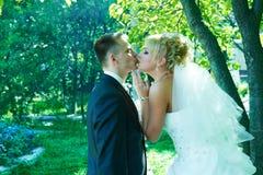 Stående av en härlig brud och brudgum Royaltyfria Foton