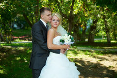 Stående av en härlig brud och brudgum Fotografering för Bildbyråer