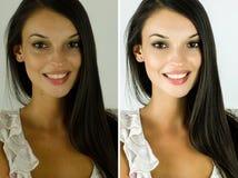 Stående av en härlig brunettflicka före och efter som retuscherar med photoshop Arkivbilder