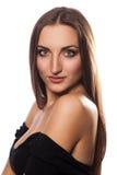 Stående av en härlig flicka i studion Fotografering för Bildbyråer