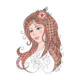 Stående av en härlig flicka i zentanglestil Royaltyfria Bilder
