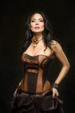Stående av en härlig steampunkkvinna Arkivfoto