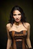 Stående av en härlig steampunkkvinna Royaltyfri Fotografi