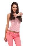 Stående av en härlig tonåring som pekar på dig Royaltyfri Bild