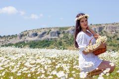 Stående av en härlig ung kvinna i kamomillfält Lycklig flicka som samlar tusenskönor En flicka som vilar i ett fält av kamomillen Arkivfoto