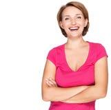 Stående av en härlig ung vuxen vit lycklig kvinna Royaltyfri Fotografi
