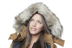 Stående av en härlig vinterflicka fotografering för bildbyråer