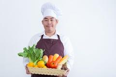 Stående av en hållande frukt och grönsak för Fotografering för Bildbyråer