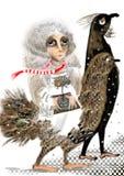 Stående av en konstig kvinna som rider en enorm fågel med mänsklig fot Arkivbild