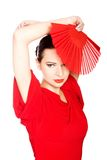 Stående av en latinodansare som bär den röda klänningen Royaltyfri Foto