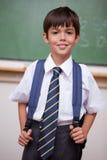 Stående av en le schoolboy med en ryggsäck arkivbild