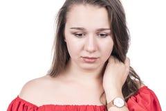 Stående av en ledsen kvinna arkivfoto