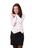 Stående av en lycklig ung affärskvinna Arkivbild