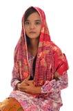Stående av en malajiska kvinna med kebaya på vit bakgrund Royaltyfria Foton