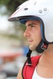 Stående av en man i motorcykelhjälm Royaltyfria Bilder