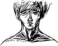 Stående av en man med en omfångsrik frisyr och ett frodigt hår av medellängden vektor illustrationer
