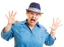 Medelålders kvinna - skräck Fotografering för Bildbyråer