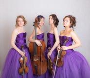 Stående av en musikalisk kvartett arkivfoton