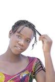 Stående av en naturlig afro- skönhet som isoleras, inget smink Royaltyfri Fotografi