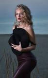 Stående av en sexig blondin på aftonstranden Fotografering för Bildbyråer