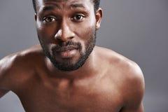 Stående av en stilig afro amerikansk man som ser dig royaltyfri bild