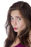 Stående av en tonårs- flicka som isoleras på vit Royaltyfria Foton