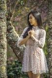 Stående av en tonårs- flicka under träd fotografering för bildbyråer