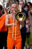 Stående av en trombonspelare. royaltyfri bild